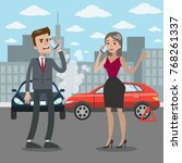 traffic accident illustration....   Shutterstock .eps vector #768261337