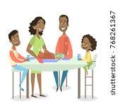 african american family dinner... | Shutterstock .eps vector #768261367