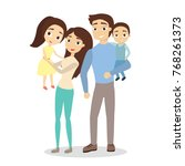 isolated happy family with... | Shutterstock .eps vector #768261373