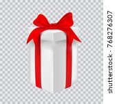 gift box with red ribbon.... | Shutterstock .eps vector #768276307