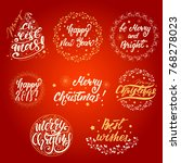 set of christmas and new year... | Shutterstock .eps vector #768278023