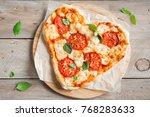 heart shaped pizza margherita... | Shutterstock . vector #768283633