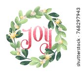 christmas holiday wreath with... | Shutterstock .eps vector #768297943