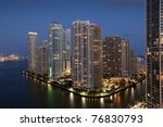 Sunset over Downtown of Miami - stock photo