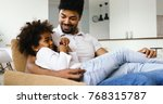 relaxed african american family ... | Shutterstock . vector #768315787