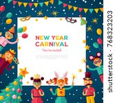 children new year 2018 carnival ... | Shutterstock .eps vector #768323203