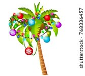 palm tree decorated with... | Shutterstock .eps vector #768336457