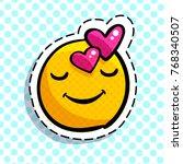 smile in love emoticon. happy... | Shutterstock .eps vector #768340507