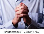 close up or closeup of hands of ... | Shutterstock . vector #768347767