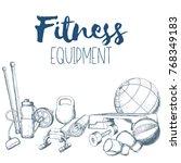 set of fitness accessories ... | Shutterstock .eps vector #768349183