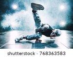 young man break dancing in club ...   Shutterstock . vector #768363583