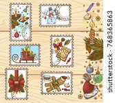 set of postage stamps with... | Shutterstock .eps vector #768365863