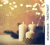 christmas candles and ornaments ...   Shutterstock . vector #768374647