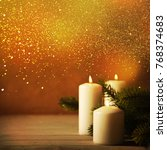 christmas candles and ornaments ...   Shutterstock . vector #768374683