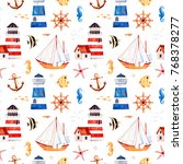 nautical watercolor seamless... | Shutterstock . vector #768378277