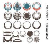 leaves and ribbon logo element...   Shutterstock .eps vector #768380167