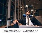traveler waiting at airport... | Shutterstock . vector #768405577