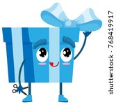 holiday blue gift box character ... | Shutterstock .eps vector #768419917
