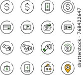 line vector icon set   dollar... | Shutterstock .eps vector #768422647