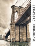 hdr view of brooklyn bridge... | Shutterstock . vector #768424657