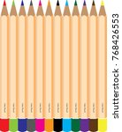 different color pencil wood | Shutterstock .eps vector #768426553