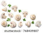 mushrooms with parsley isolated ... | Shutterstock . vector #768439807