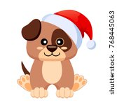 little cute dog in santa claus... | Shutterstock .eps vector #768445063