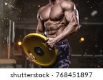 brutal strong bodybuilder... | Shutterstock . vector #768451897