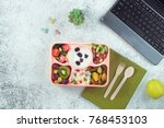 open lunch box with healthy... | Shutterstock . vector #768453103