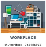 workplace. workplace interior.... | Shutterstock .eps vector #768456913