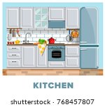 kitchen. kitchen interior.... | Shutterstock .eps vector #768457807