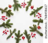 christmas composition. frame... | Shutterstock . vector #768458617