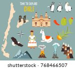 big set with landmarks  animals ... | Shutterstock .eps vector #768466507