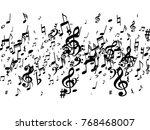 black musical notes flying... | Shutterstock .eps vector #768468007