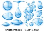 clear blue vector water drops...