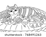 Stock vector outlined doodle anti stress coloring cute cat feeding kittens in a basket coloring book page for 768491263