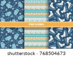 vector set of seamless pattern... | Shutterstock .eps vector #768504673