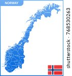 the detailed map of the norway... | Shutterstock .eps vector #768530263
