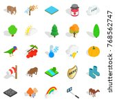 wildlife sanctuary icons set.... | Shutterstock .eps vector #768562747