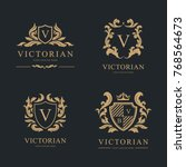 luxury logo set. vector logo... | Shutterstock .eps vector #768564673
