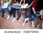 young people being used... | Shutterstock . vector #768570403
