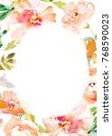 modern orange watercolor flower ... | Shutterstock . vector #768590023