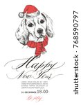 a dog in a santa claus hat....   Shutterstock .eps vector #768590797