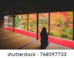 tourists enjoy autumn colorful... | Shutterstock . vector #768597733