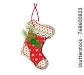 christmas stocking. hanging...   Shutterstock .eps vector #768600823