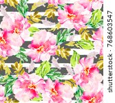 girly pattern with pink... | Shutterstock . vector #768603547