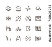 seo icon set. collection of... | Shutterstock .eps vector #768605293