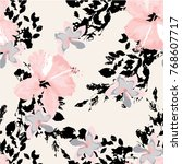 beautiful hibiscus pattern with ... | Shutterstock .eps vector #768607717