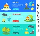 cartoon natural disaster banner ... | Shutterstock .eps vector #768610243