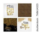 merry christmas golden template ... | Shutterstock . vector #768614323